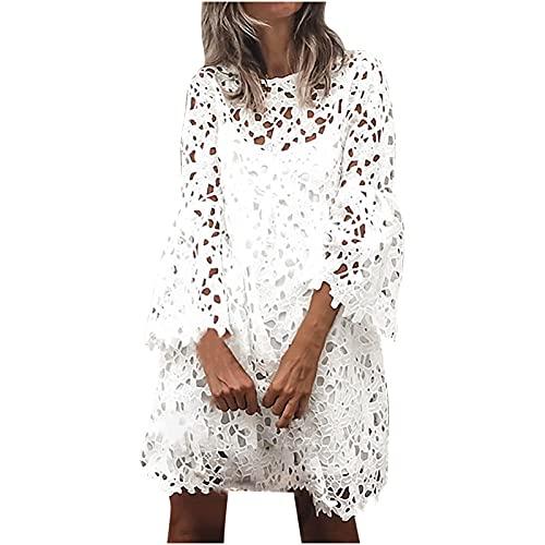 Zzbeans Damen Kleider Summer Spitze Ausgestellte Ärmel Rüsche Kleid Slingkleid Zweiteiliger Anzug Summer Weißes Kleid Strandkleid