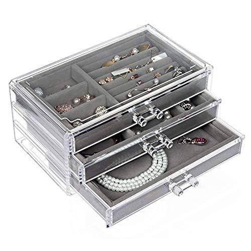 WLLOVE WULE Cajones joyería del Caso del Organizador Collares Box for 3 Capas de Almacenamiento Pendiente sostenedor de la exhibición de Maquillaje Bandeja de Anillos Bin (Color : Clear)