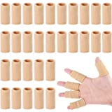 30 Pieces Finger Sleeves with 1 Storage Bag, Thumb Splint Brace Support Protector Breathable Elastic Finger Tape for Pain Relief Arthritis Trigger Finger Sports Basketball Baseball (Beige)
