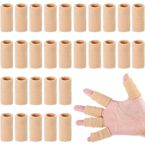 30 Pieces Finger Sleeves with 1 Storage Bag, Thumb Splint Brace Support Protector Breathable Elastic Finger Tape for Pain Relief Arthritis Trigger Finger Sports Basketball Baseball Volleyball