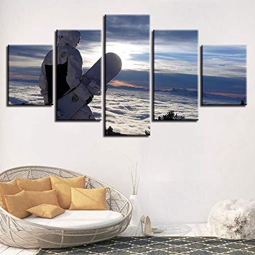 Poouoooy Leinwand malerei wandkunst 5 hochauflösende wandbilder Snowboard Wand Wohnzimmer Sport malerei Landschaft Moderne leinwand Bild Poster-Frame 40x60 40x80 40x100cm