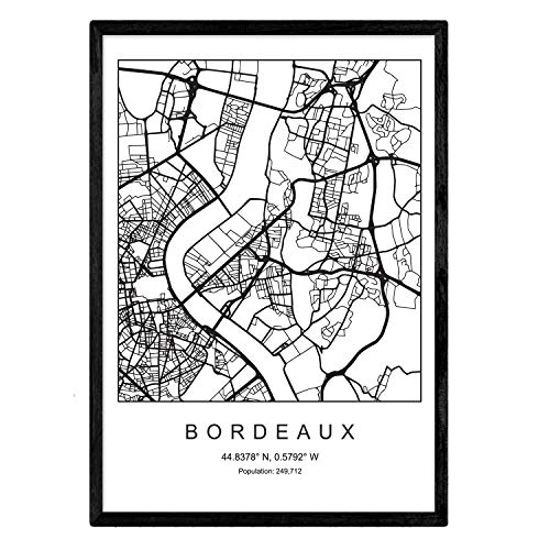 Nacnic Lámina Mapa de la Ciudad Bordeaux Estilo nordico en Blanco y Negro. Poster tamaño A3 Sin Marco Impreso Papel 250 gr. Cuadros, láminas y Posters para Salon y Dormitorio