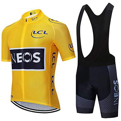 Cycling jerseys Pantalones Cortos de Ciclismo para Hombre con Tirantes y Camisetas Transpirables para Deportes al Aire Libre, Hombre, Color Conjunto de Baberos Cortos Amarillos, tamaño Extra-Large