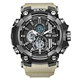 SBAO Rubber Strap Military Waterproof Watch Fashion Outdoor Quartz Digital LED Sports Watches Men's LED Digital Dual Display Watch Top Brand Luxury Clock Camping Diving Wristwatch (Khaki)