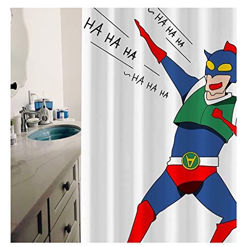 SPARROW Duschvorhang Superman Anime Neuheit Vorhang Kinder Japan wasserdichte Anti Form Duschvorhang Kunst Geschenk Haken Kunststoff (Color : Blue, Size : 180 * 180cm)