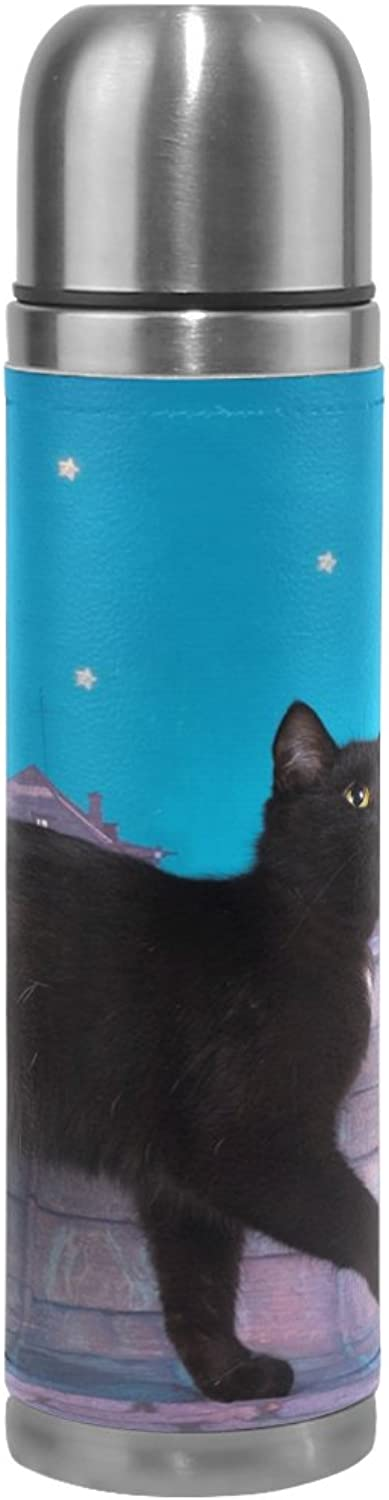 COOSUN Black Cat Walking On The Roof Night Stainless Steel Flasks Water Bottle Vacuum Insulated Cup Leak Proof Double Vacuum Bottle, PU Leather Travel Thermal Mug,17 oz