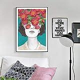 Pintura sin Marco Moda Floral Mujer póster Lienzo Pintura al óleo Planta Arte de la Pared Sala de Estar decoración modernaZGQ4442 50X67cm