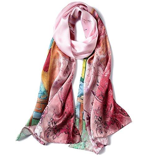 STORY OF SHANGHAI Bufandas de 100% Seda de Morera Pañuelo Mujer Seda Chal Estolas Madre y Dama Regalos para Mujeres