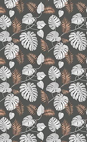 Deco&Fun - Alfombra Vinílica Nature Tropical Palm Negro 110x180cm - Alfombra PVC Alfombra vinílica Cocina- Alfombra vinílica salón - Alfombras de Vinilo