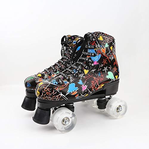 BTYKJ 2019 Eisbahn rutschfest verschleißfeste Herren- und Damen-Rollschuhe für Erwachsene Zweireihige Flash-Skates Forty White transparentes Rad