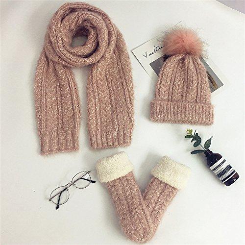 Damen Mohair Stricken Häkeln 3 Pcs Stück Mütze Schal Handschuhe Frauen Sets Winter Geschenk (Mütze Schal Handschuhe, Mohair Stricken Rosa)