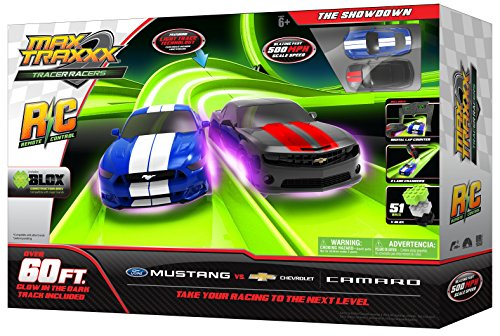 Max Traxxx Remote Control The Showdown Ford Mustang vs Chevy Camaro Race Track Set