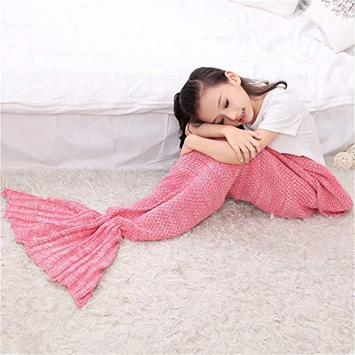 CAMMITEVER Mermaid Tail Blanket, Hand Crotchet Mermaid Blanket for Kids Girls, Silky Comfort and Sofa Sleeping Blanket, Birthday Ideas