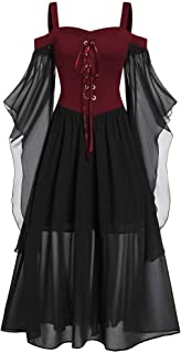 Womne Plus Size Cold Shoulder Butterfly Sleeve Lace Up Halloween Dress Countess Witch Fairy Style