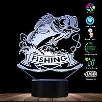釣りバス魚3D LEDナイトライトフィッシュとロッドフィッシングクラブスリーピーランプフィッシャーマン寝室装飾照明テーブルランプ