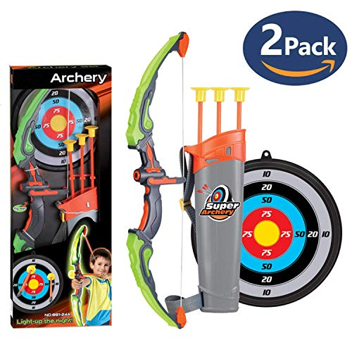 2 Pack Set Kids Archery Bow Arrow Toy Set with Targets, Suction Cup Arrows and Quiver, LED Light Up Function Toy for Boys Girls Indoor and Outdoor Garden Fun Game Montana