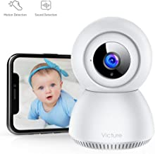 Victure 1080P FHD Baby Monitor with 2.4G WiFi Wireless IP Home Security Camera Indoor Surveillance Camera with Smart Sound Detection Motion Tracking Night Vision and 2-Way Audio for Baby/Elder/Pet