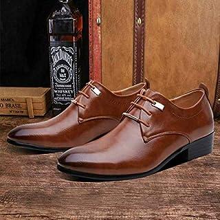 Men Dress Comfortable Shoes Big Size 38-46 Business Men's Basic Casual Shoes,Black/Brown Leather Cloth Elegant Design Handsome Shoes(7.5,Brown)