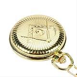 KUANDARGG Männer Frauen TaschenuhrSilber/Golden Freemason Freimaurer Design Quarz Taschenuhr Kette Mode Schmuck Kette Uhr, Golden