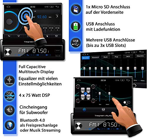 Tristan Auron BT1D7027A Android 10 Autoradio + DAB+ Box I 7 Touchscreen ausfahrbar I GPS Navi 32GB Bluetooth Freisprecheinrichtung I USB SD DAB Plus 1 DIN