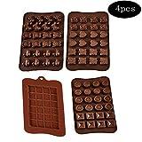integrity.1 4 Stück Silikon Schokolade Forme, Silikonform Schokotafeln,Ice Cube Tablett für Schokolade Herstellen,für Schokolade, Bonbon, Praline, Süßigkeiten, Eiswürfel,Naschen, Kuchen