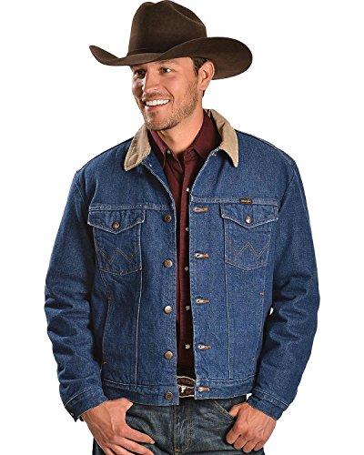 Wrangler Men's Regular Blanket Lined Denim Jacket, Denim/Blanket, 40