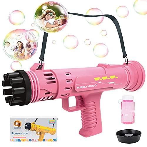 specool Seifenblasenmaschine für Kinder, Gatlings Automatisches Seifenblasen Maschine mit 8-Loch Cool Bubble Machine Elektrische Bubble Gun Outdoor Spielzeug Geschenke für...