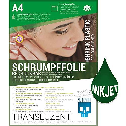 SKULLPAPER® Schrumpffolie bedruckbar transluzent transparent für individuellen Schmuck und mehr - 10 Bögen A4 für Tintenstrahldrucker