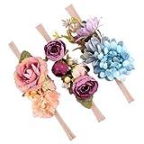 MagiDeal 3 Stück Niedlich Blumen Baby Mädchen Haarband /Stirnband Fotografie - Stil 1, wie beschreiben