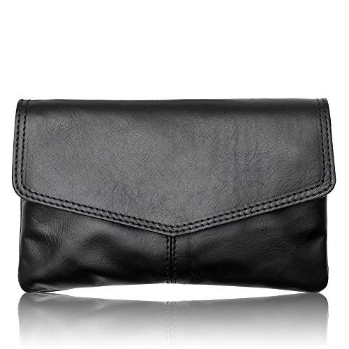 SUSI hochwertige Damen Leder Clutch Handtasche für Damen Umhängetasche Farbauswahl (Schwarz)