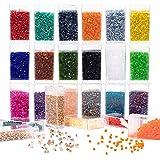 PandaHall 24 colori perline di vetro per tubi di vetro, kit di gioielli perle di semi di bugle vetro con scatola organizzatore rimovibile per la fabbricazione gioielli Creazione di perline, 1080 pezzi
