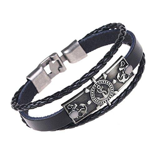 AIUIN Joyería - Pulsera para hombre, diseño de ancla de estilo azul marino, estilo retro, estilo punk de piel, para hombre, pulsera de aleación, con bolsa de joyería