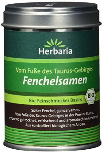Herbaria Fenchelsamen süss, ganz, 1er Pack (1 x 40 g Dose) - Bio