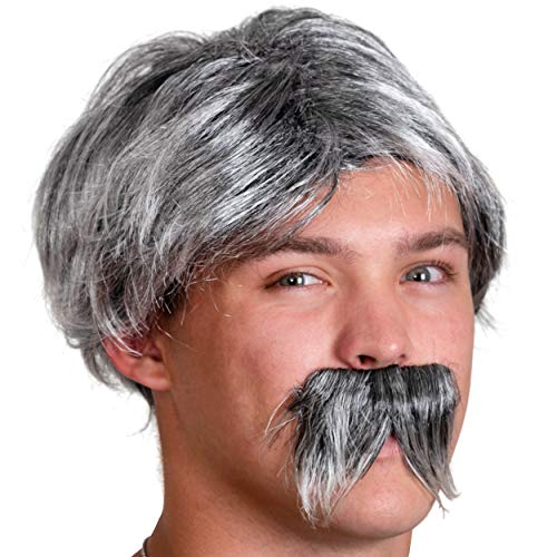 Skeleteen Grey Wig and Mustache - Salt and Pepper Hair Old Person Grandpa Wigs and Mustache Old Man Costume Accessories Set for Boys and Girls