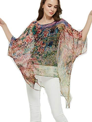 prettystern 100% Seda Poncho túnica Kimono Verano Blusa Beach Top Abrigo Claude Monet House Debajo de Las Rosas