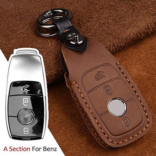 Funda para llave de coche con protector de piel para Mercedes Benz E260 E320 E400 2018-2016 E300 E200 C260 C300 3 botones de piel sin llave (marrón)