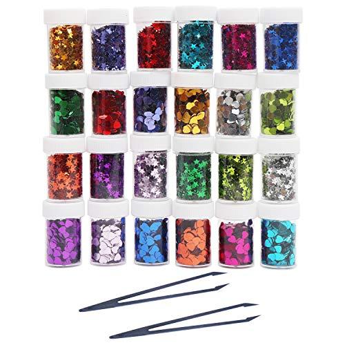 Kurtzy Paillettes Glitter Stelle e Cuori (24 Pezzi) - 8g Confetti Glitter Vasetti - per Slime, Abbelliment Scrapbooking, Decorazioni per Bomboniere, Arte Fai da Te e Mestieri con Pinzette Plastica