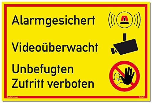 Schild Alarmgesichert Videoüberwacht | Unbefugten Zutritt verboten | stabiles Alu Schild mit UV-Schutz 30 x 20 cm | gelb | Alarmanlage Videoüberwachung Kameraüberwacht | Dreifke®