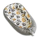 PIMKO Babynest fürs Baby 2seitig Kuschelnest Babykokon für Säuglinge und Neugeborene Babynestchen 100% Baumwolle Babykissen geeignet für Zuhause oder als Reisebett 55 x 90 cm (Asher)