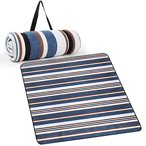 WD&CD Manta Picnic 150 x 200cm, Manta Picnic Impermeable para Interior, Playa, Camping al Aire Libre, Lavable a Máquina, Manta de Camping, Estera de Picnic de Duradera, Plegable, Azul