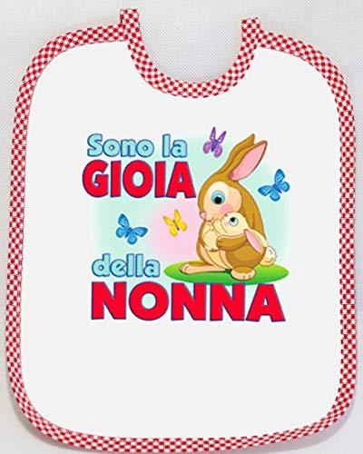 [Passaparola] Bavaglino - Gioia Nonna Rosso- Umoristico - Rosso unisex pappa - Made in Italy