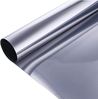 VELIMAX Static Cling Solar Film Reflective Mirror Film Window Tint Non Adhesive UV Blocking Heat Rejection Daytime Privacy (Silver, 35.4in x 6.5ft)