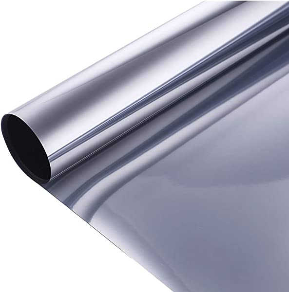 VELIMAX Static Cling Solar Film Reflective Mirror Film Window Tint Non Adhesive UV Blocking Heat Rejection Daytime Privacy Silver 35 4in X 6 5ft