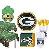 Party City スーパーフットボールパーティー用品 36人用 プレート、ナプキン、テーブルカバー、バルーン付き One Size