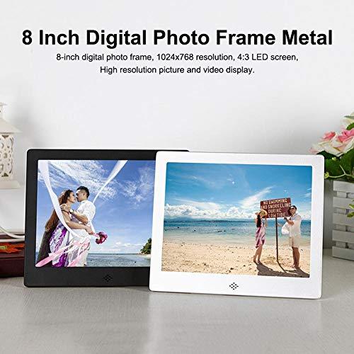 lembrd digitale fotolijst fotolijst - 8 inch digitale fotolijst metaal 1024 X 768 resolutie 4: 3 LED-scherm 32 GB SD-kaartenkalender digitale fotolijst, goud