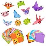 umorismo 96 hojas de papel para origami, papel de colores pastel, papel de origami de colores, papel plegable cuadrado con 48 hojas de animales de origami con 80 hojas de origami monocromáticas