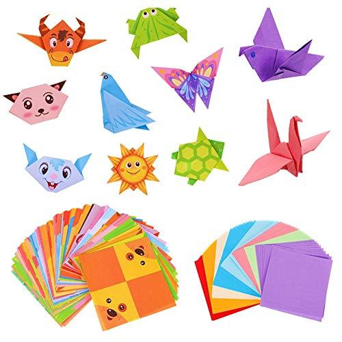 umorismo 96 Blatt Origami Papier Pastell Farbiges Papier buntes Farbigem Origami Faltpapier quadratisch with 48 Blatt Anders Origami Tiere mit 80 Blatt Origami einfarbig