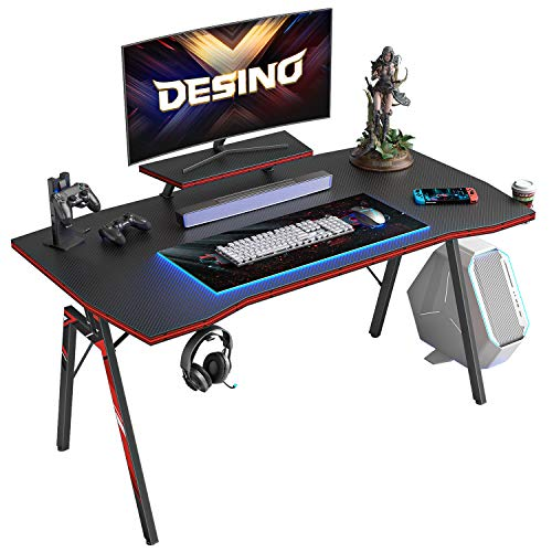 DESINO Gaming Desk 40 inch PC Computer Desk, Home Office Desk Table Gamer Workstation with Cup Holder and Headphone Hook, Black