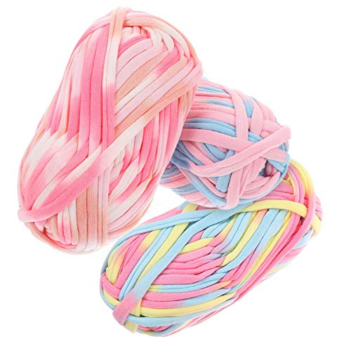 HEALLILY 3pcs Bulky Chunky Yarn Manta de Beb Hilados de Ganchillo Hilo de Tejer Multicolor Material de Tejido para Bufanda Sombrero Mantn Mantn Mantas 32m (aleatorio)