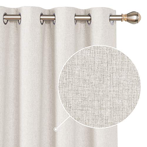 Deconovo Faux Linen Total Blackout Curtain Panels Thermal Insulated Energy Saving Room Darkening Draperies Grommet Drapes for Dining Room Khaki 52x84 Inch 2 Panels